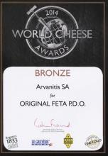 Bronze Award For Feta P.D.O. in the 2014 World Cheese Contest