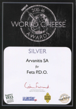 Silver Award For Feta P.D.O. in the 2015 World Cheese Contest